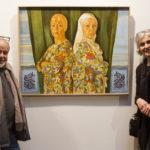"""Rossella Genovese et Mohamed Boumeghra (Calligraphie) devant le tableau """"Erma Bifronte"""""""